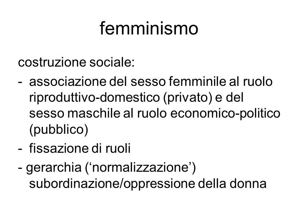 femminismo costruzione sociale: -associazione del sesso femminile al ruolo riproduttivo-domestico (privato) e del sesso maschile al ruolo economico-po