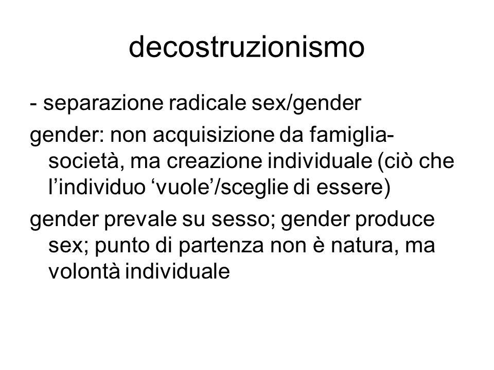 decostruzionismo - separazione radicale sex/gender gender: non acquisizione da famiglia- società, ma creazione individuale (ciò che l'individuo 'vuole