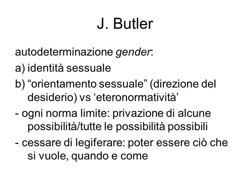 """J. Butler autodeterminazione gender: a)identità sessuale b)""""orientamento sessuale"""" (direzione del desiderio) vs 'eteronormatività' - ogni norma limite"""