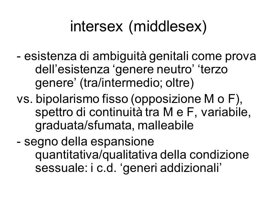 intersex (middlesex) - esistenza di ambiguità genitali come prova dell'esistenza 'genere neutro' 'terzo genere' (tra/intermedio; oltre) vs. bipolarism