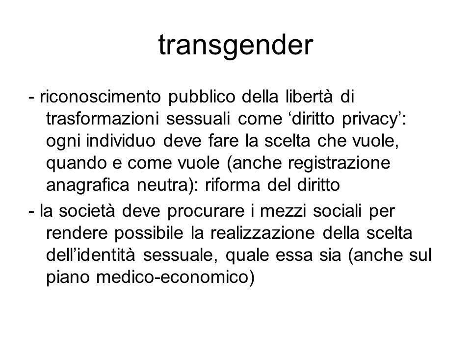 transgender - riconoscimento pubblico della libertà di trasformazioni sessuali come 'diritto privacy': ogni individuo deve fare la scelta che vuole, q