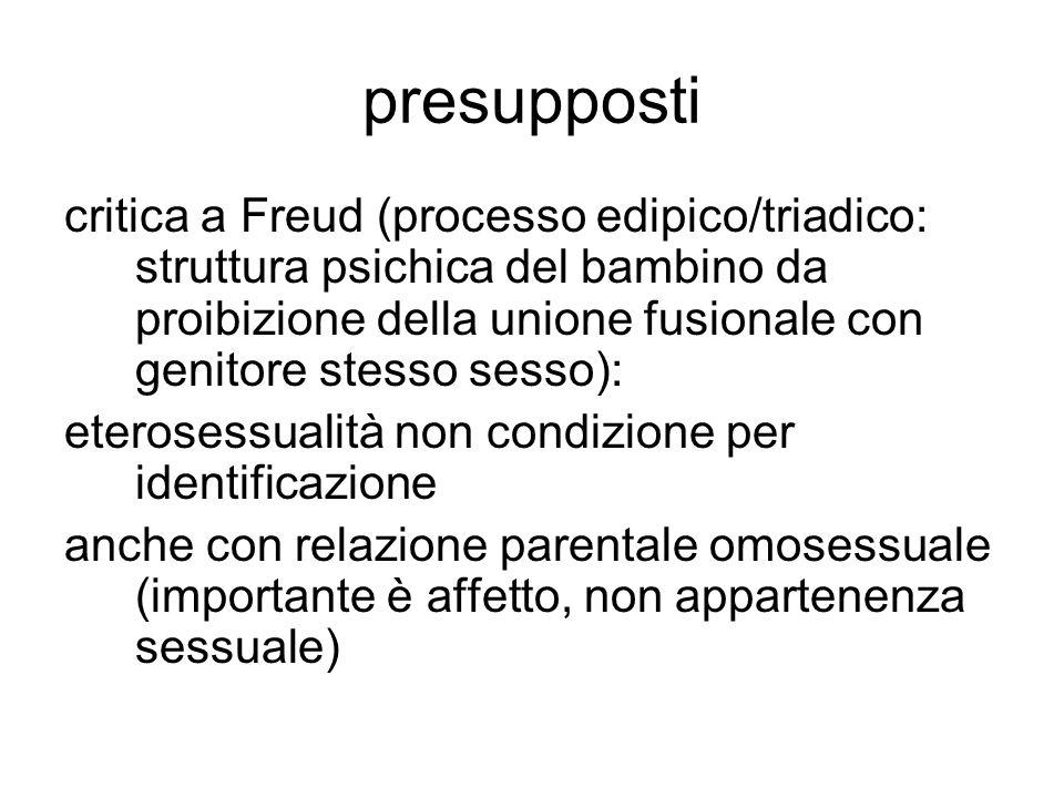 presupposti critica a Freud (processo edipico/triadico: struttura psichica del bambino da proibizione della unione fusionale con genitore stesso sesso