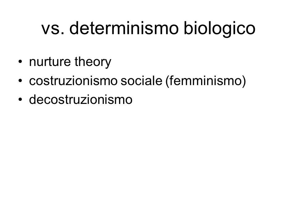 vs. determinismo biologico nurture theory costruzionismo sociale (femminismo) decostruzionismo