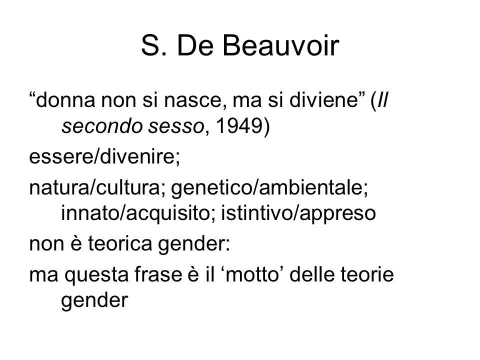 """S. De Beauvoir """"donna non si nasce, ma si diviene"""" (Il secondo sesso, 1949) essere/divenire; natura/cultura; genetico/ambientale; innato/acquisito; is"""
