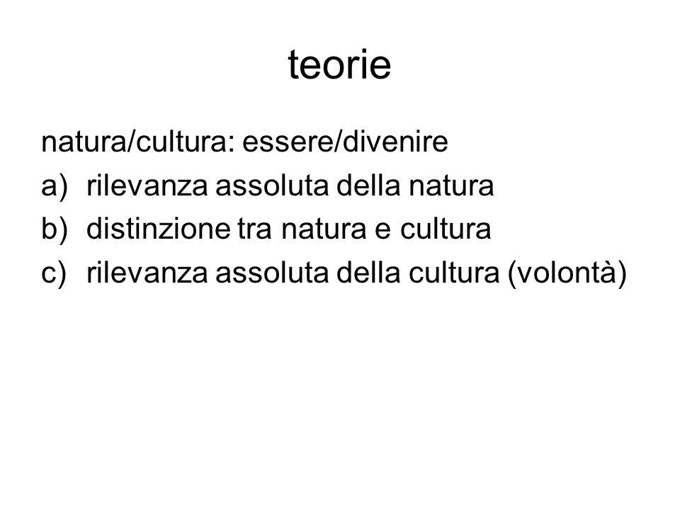 teorie natura/cultura: essere/divenire a)rilevanza assoluta della natura b)distinzione tra natura e cultura c)rilevanza assoluta della cultura (volont