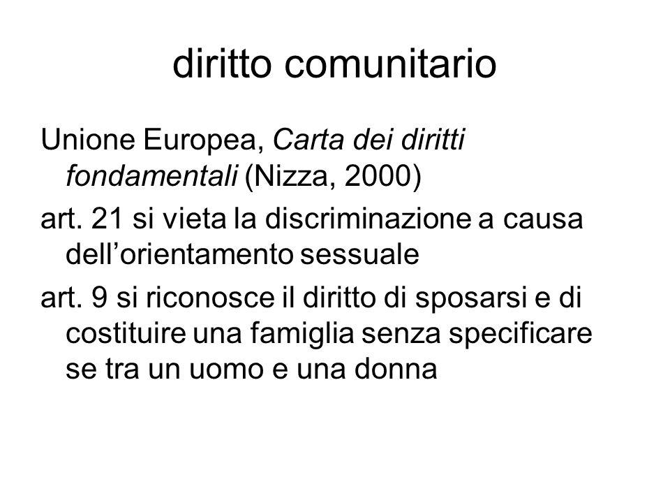 diritto comunitario Unione Europea, Carta dei diritti fondamentali (Nizza, 2000) art. 21 si vieta la discriminazione a causa dell'orientamento sessual