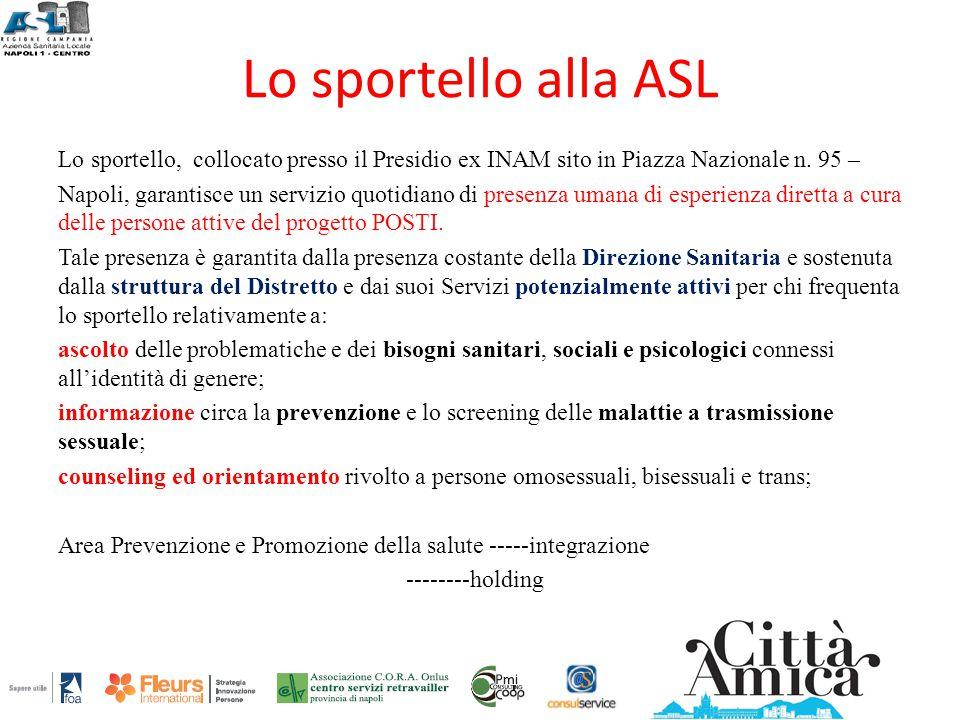 Lo sportello alla ASL Lo sportello, collocato presso il Presidio ex INAM sito in Piazza Nazionale n. 95 – Napoli, garantisce un servizio quotidiano di