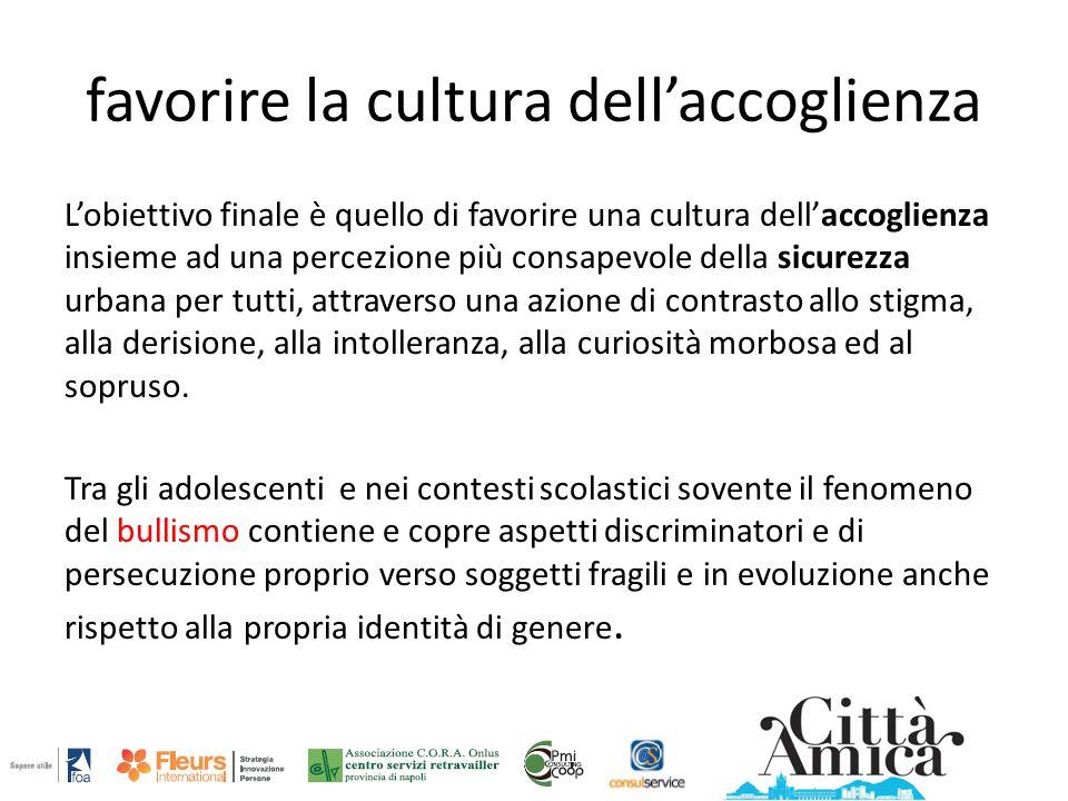 favorire la cultura dell'accoglienza L'obiettivo finale è quello di favorire una cultura dell'accoglienza insieme ad una percezione più consapevole de
