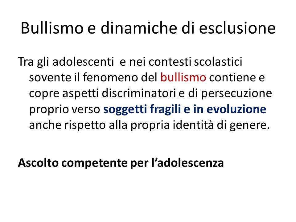Bullismo e dinamiche di esclusione Tra gli adolescenti e nei contesti scolastici sovente il fenomeno del bullismo contiene e copre aspetti discriminat