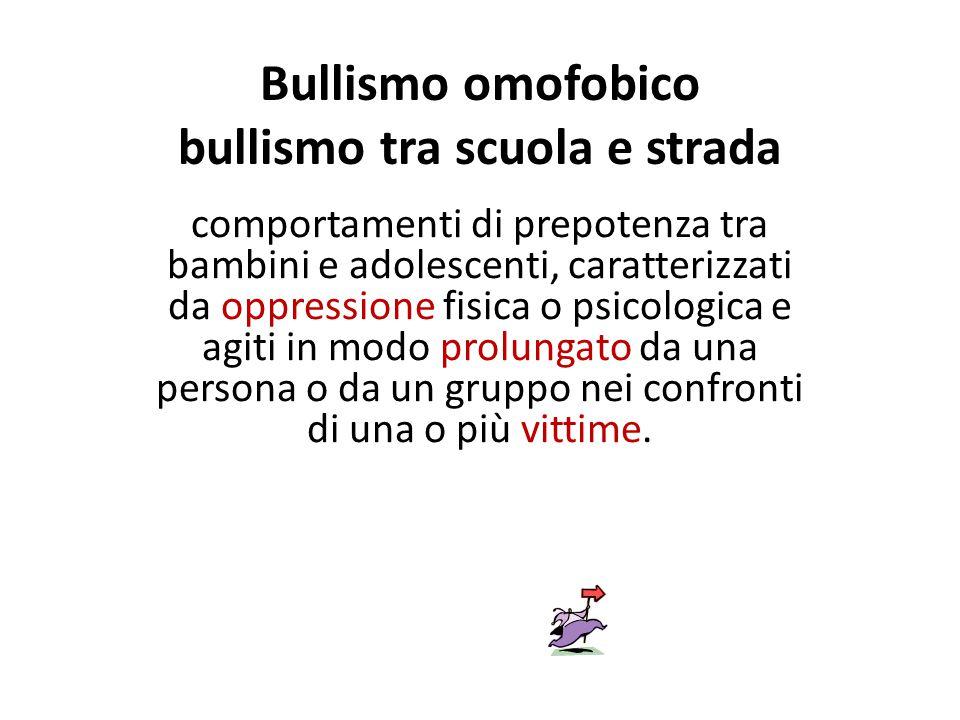 Bullismo omofobico bullismo tra scuola e strada comportamenti di prepotenza tra bambini e adolescenti, caratterizzati da oppressione fisica o psicolog