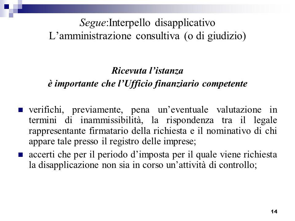 14 Segue:Interpello disapplicativo L'amministrazione consultiva (o di giudizio) Ricevuta l'istanza è importante che l'Ufficio finanziario competente v