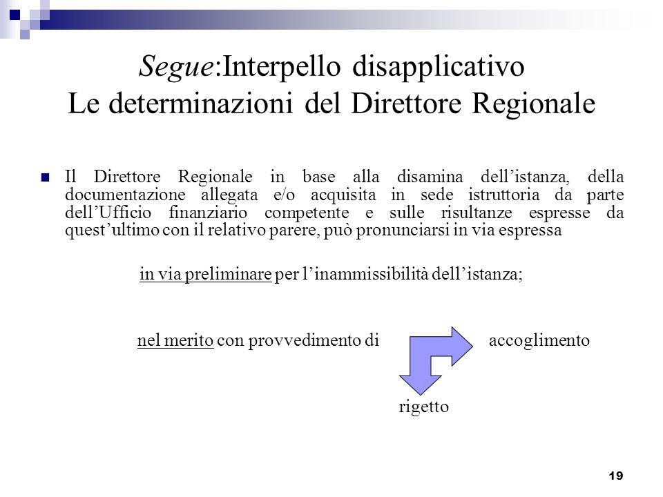 19 Segue:Interpello disapplicativo Le determinazioni del Direttore Regionale Il Direttore Regionale in base alla disamina dell'istanza, della document