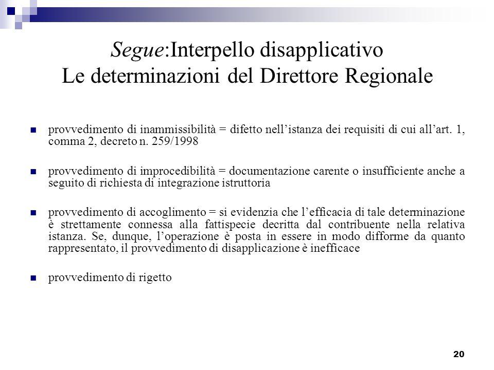 20 Segue:Interpello disapplicativo Le determinazioni del Direttore Regionale provvedimento di inammissibilità = difetto nell'istanza dei requisiti di