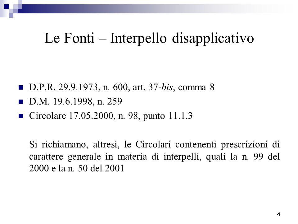4 Le Fonti – Interpello disapplicativo D.P.R. 29.9.1973, n. 600, art. 37-bis, comma 8 D.M. 19.6.1998, n. 259 Circolare 17.05.2000, n. 98, punto 11.1.3