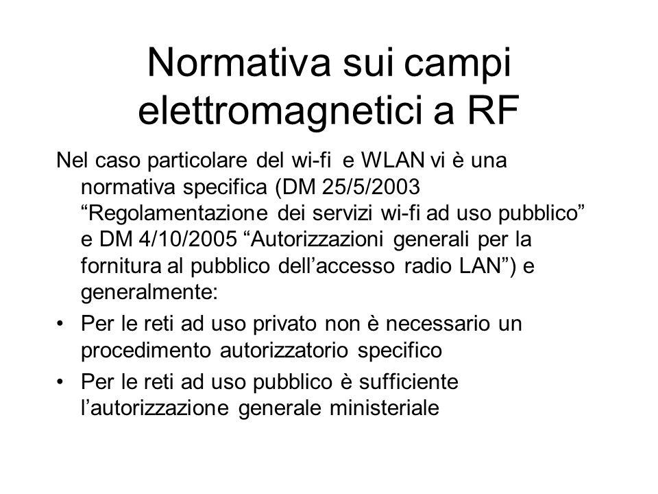 Normativa sui campi elettromagnetici a RF Nel caso particolare del wi-fi e WLAN vi è una normativa specifica (DM 25/5/2003 Regolamentazione dei servizi wi-fi ad uso pubblico e DM 4/10/2005 Autorizzazioni generali per la fornitura al pubblico dell'accesso radio LAN ) e generalmente: Per le reti ad uso privato non è necessario un procedimento autorizzatorio specifico Per le reti ad uso pubblico è sufficiente l'autorizzazione generale ministeriale
