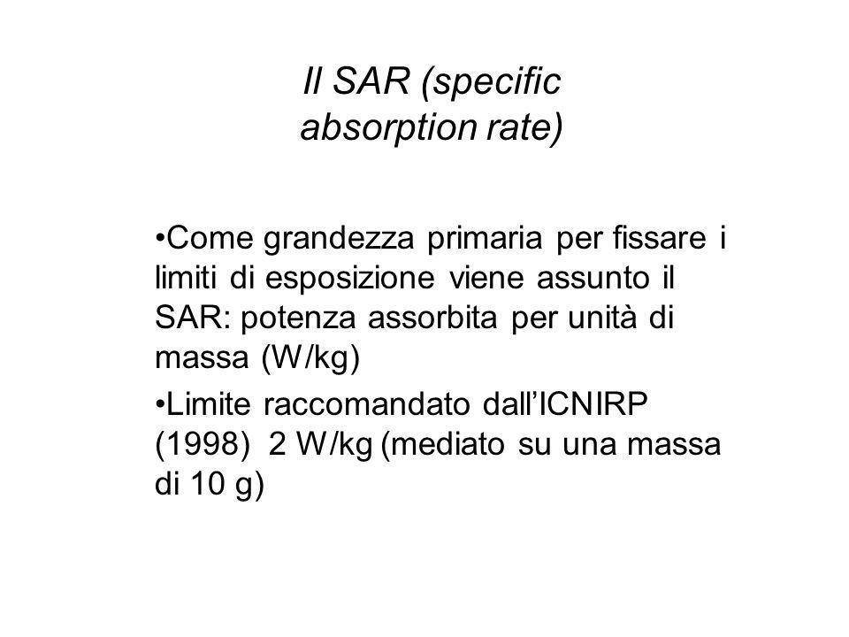 Come grandezza primaria per fissare i limiti di esposizione viene assunto il SAR: potenza assorbita per unità di massa (W/kg) Limite raccomandato dall'ICNIRP (1998) 2 W/kg (mediato su una massa di 10 g) Il SAR (specific absorption rate)