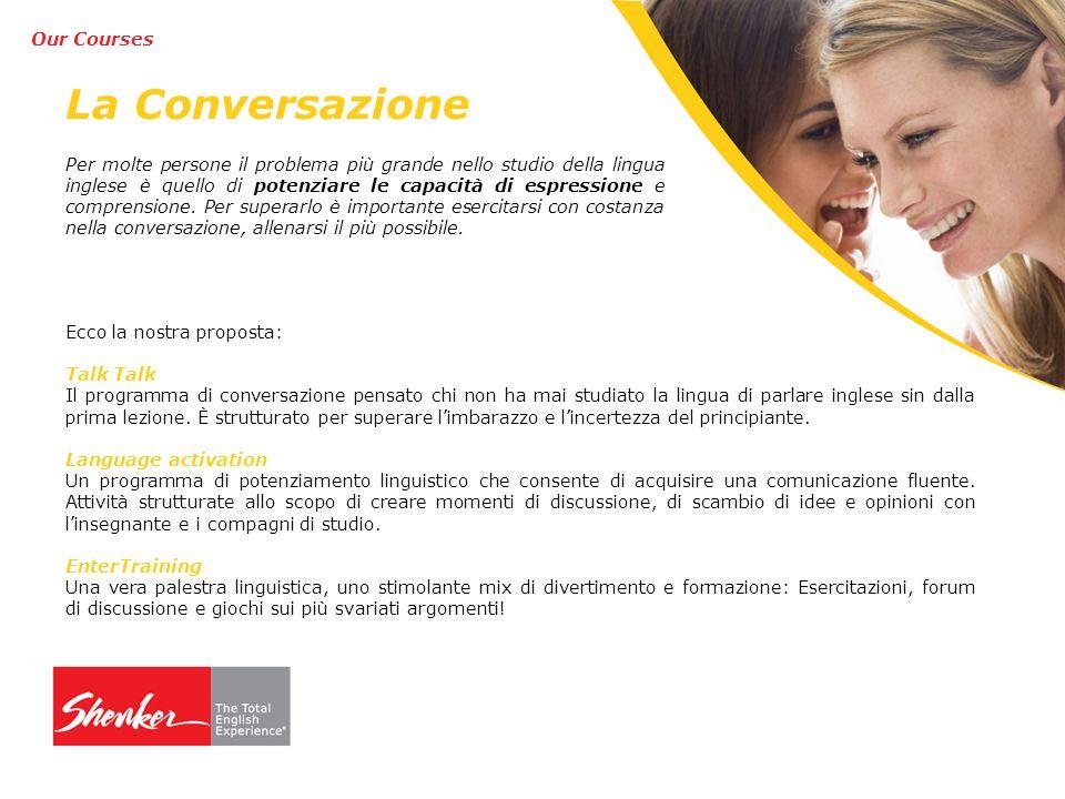 La Conversazione Ecco la nostra proposta: Talk Il programma di conversazione pensato chi non ha mai studiato la lingua di parlare inglese sin dalla prima lezione.