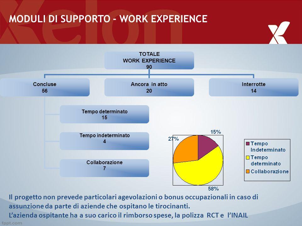 MODULI DI SUPPORTO - WORK EXPERIENCE TOTALE WORK EXPERIENCE 90 Concluse 56 Ancora in atto 20 Interrotte 14 Tempo determinato 15 Tempo indeterminato 4