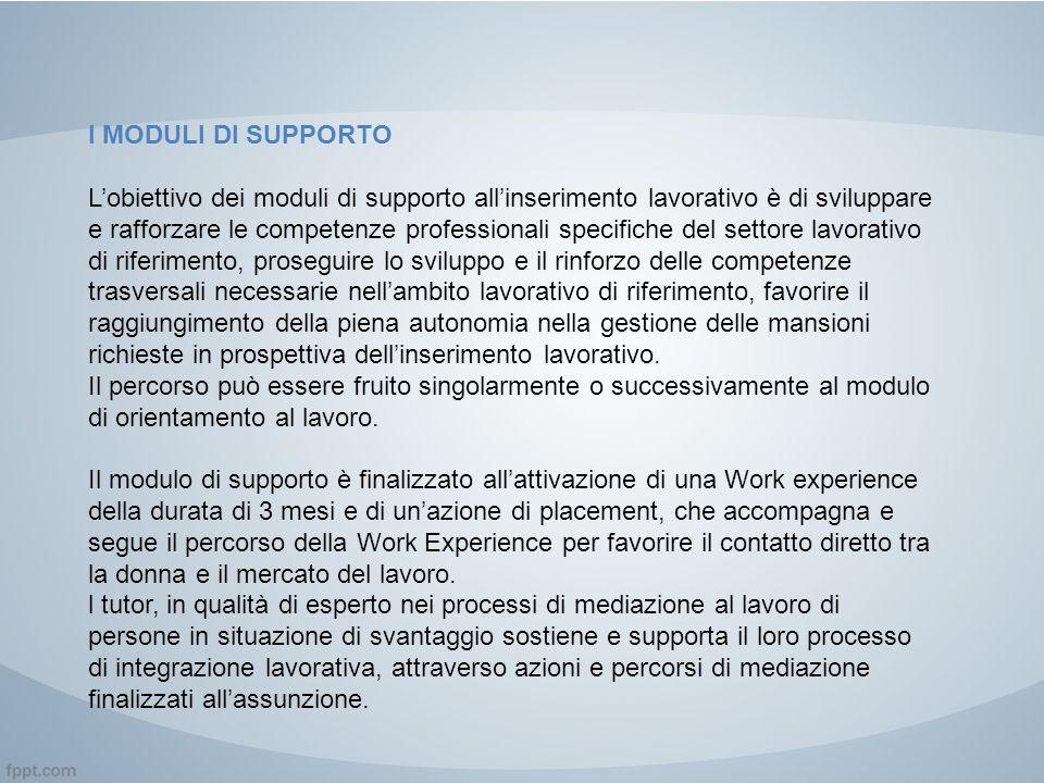 I MODULI DI SUPPORTO L'obiettivo dei moduli di supporto all'inserimento lavorativo è di sviluppare e rafforzare le competenze professionali specifiche