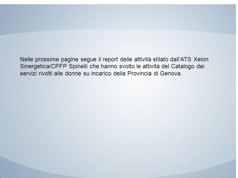 Nelle prossime pagine segue il report delle attività stilato dall'ATS Xelon Sinergetica/CPFP Spinelli che hanno svolto le attività del Catalogo dei se