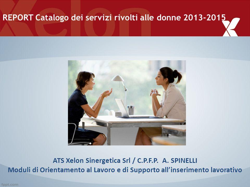 ATS Xelon Sinergetica Srl / C.P.F.P. A. SPINELLI Moduli di Orientamento al Lavoro e di Supporto all'inserimento lavorativo REPORT Catalogo dei servizi