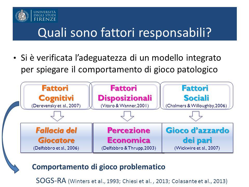 Quali sono fattori responsabili? Si è verificata l'adeguatezza di un modello integrato per spiegare il comportamento di gioco patologico FattoriCognit