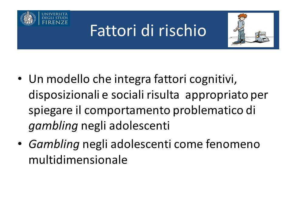 Fattori di rischio Un modello che integra fattori cognitivi, disposizionali e sociali risulta appropriato per spiegare il comportamento problematico d
