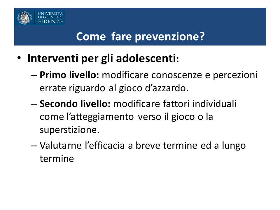Come fare prevenzione.