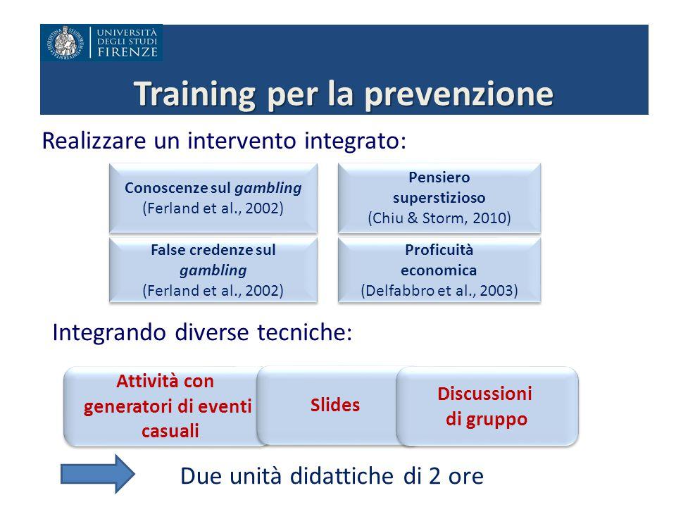 Training per la prevenzione Realizzare un intervento integrato: False credenze sul gambling (Ferland et al., 2002) False credenze sul gambling (Ferlan