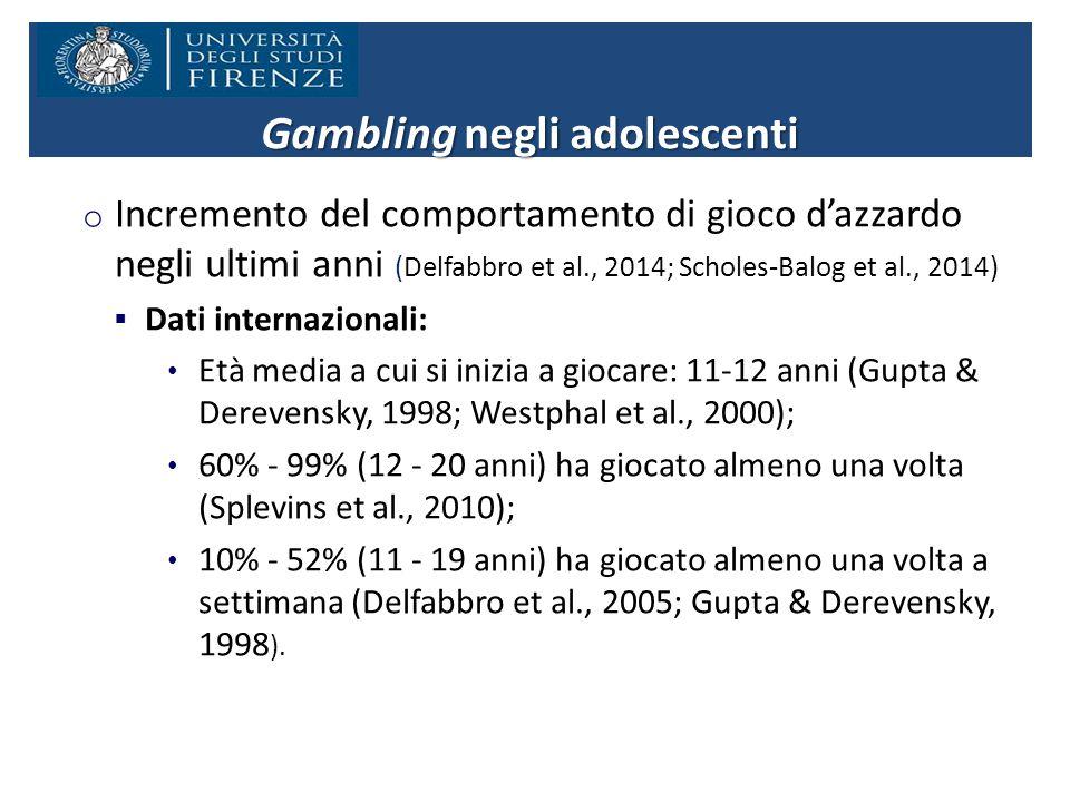 o Incremento del comportamento di gioco d'azzardo negli ultimi anni (Delfabbro et al., 2014; Scholes-Balog et al., 2014)  Dati internazionali: Età media a cui si inizia a giocare: 11-12 anni (Gupta & Derevensky, 1998; Westphal et al., 2000); 60% - 99% (12 - 20 anni) ha giocato almeno una volta (Splevins et al., 2010); 10% - 52% (11 - 19 anni) ha giocato almeno una volta a settimana (Delfabbro et al., 2005; Gupta & Derevensky, 1998 ).