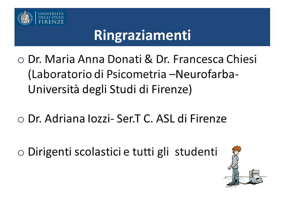 o Dr. Maria Anna Donati & Dr. Francesca Chiesi (Laboratorio di Psicometria –Neurofarba- Università degli Studi di Firenze) o Dr. Adriana Iozzi- Ser.T