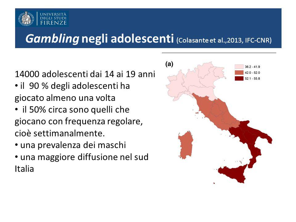 Gambling negli adolescenti (Colasante et al.,2013, IFC-CNR) 14000 adolescenti dai 14 ai 19 anni il 90 % degli adolescenti ha giocato almeno una volta il 50% circa sono quelli che giocano con frequenza regolare, cioè settimanalmente.
