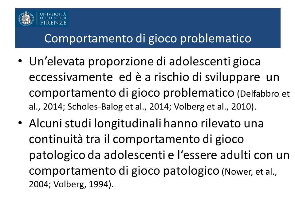 Comportamento di gioco problematico Un'elevata proporzione di adolescenti gioca eccessivamente ed è a rischio di sviluppare un comportamento di gioco problematico (Delfabbro et al., 2014; Scholes-Balog et al., 2014; Volberg et al., 2010).