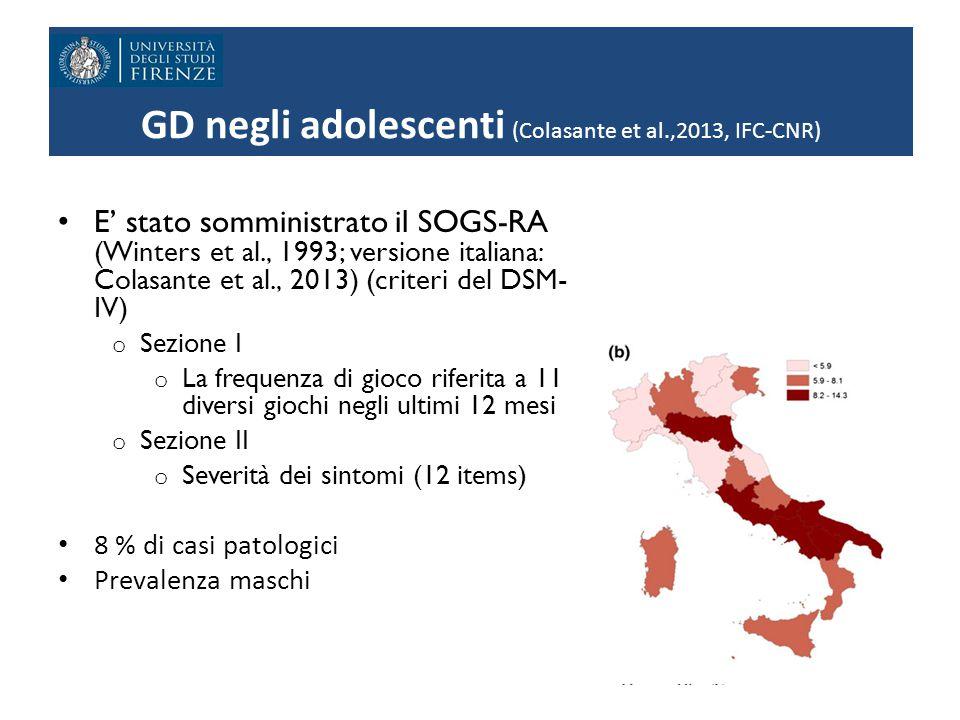 GD negli adolescenti (Colasante et al.,2013, IFC-CNR) E' stato somministrato il SOGS-RA (Winters et al., 1993; versione italiana: Colasante et al., 2013) (criteri del DSM- IV) o Sezione I o La frequenza di gioco riferita a 11 diversi giochi negli ultimi 12 mesi o Sezione II o Severità dei sintomi (12 items) 8 % di casi patologici Prevalenza maschi