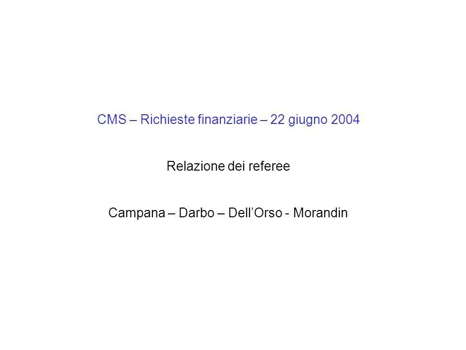 CMS – Richieste finanziarie – 22 giugno 2004 Relazione dei referee Campana – Darbo – Dell'Orso - Morandin