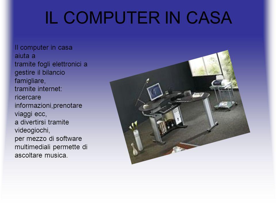 IL COMPUTER IN CASA Il computer in casa aiuta a tramite fogli elettronici a gestire il bilancio famigliare, tramite internet: ricercare informazioni,prenotare viaggi ecc, a divertirsi tramite videogiochi, per mezzo di software multimediali permette di ascoltare musica.