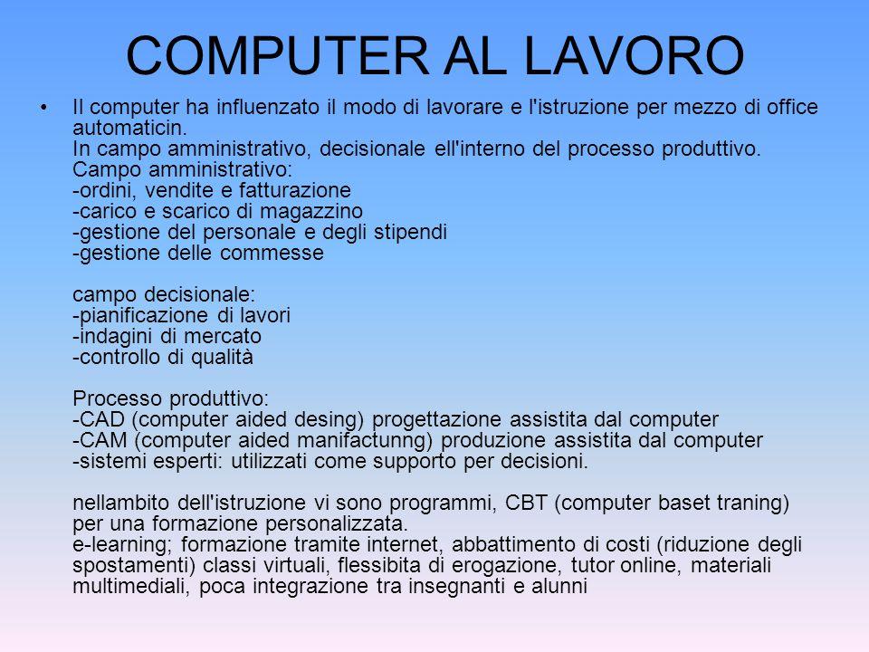 COMPUTER AL LAVORO Il computer ha influenzato il modo di lavorare e l istruzione per mezzo di office automaticin.