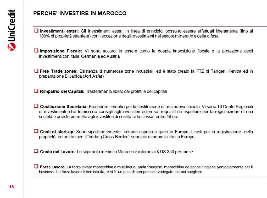 16 PERCHE' INVESTIRE IN MAROCCO  Investimenti esteri: Gli investimenti esteri, in linea di principio, possono essere effettuati liberamente (fino al