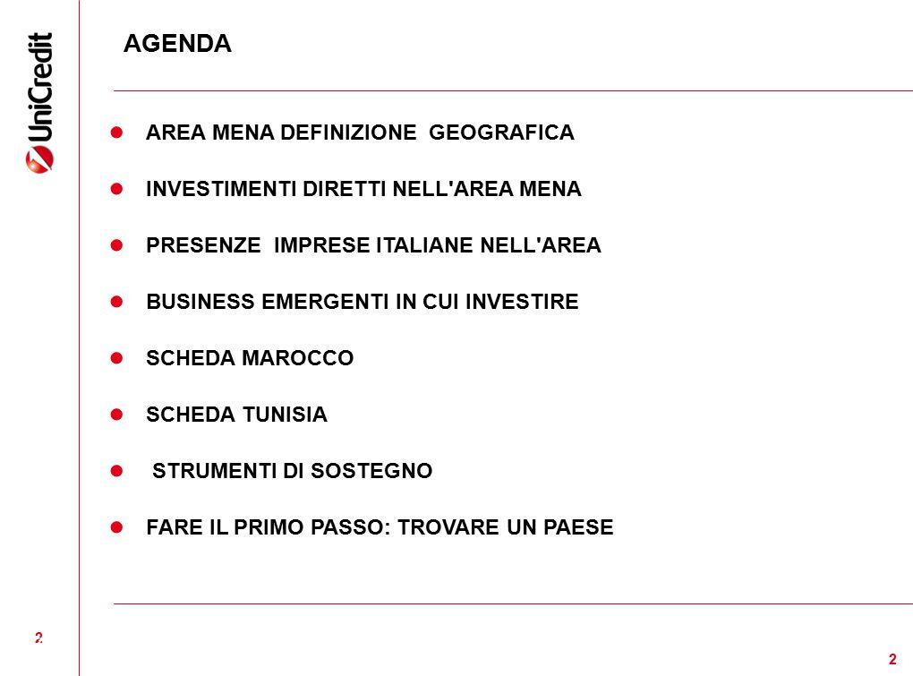 2 2 AGENDA ● AREA MENA DEFINIZIONE GEOGRAFICA ● INVESTIMENTI DIRETTI NELL'AREA MENA ● PRESENZE IMPRESE ITALIANE NELL'AREA ● BUSINESS EMERGENTI IN CUI