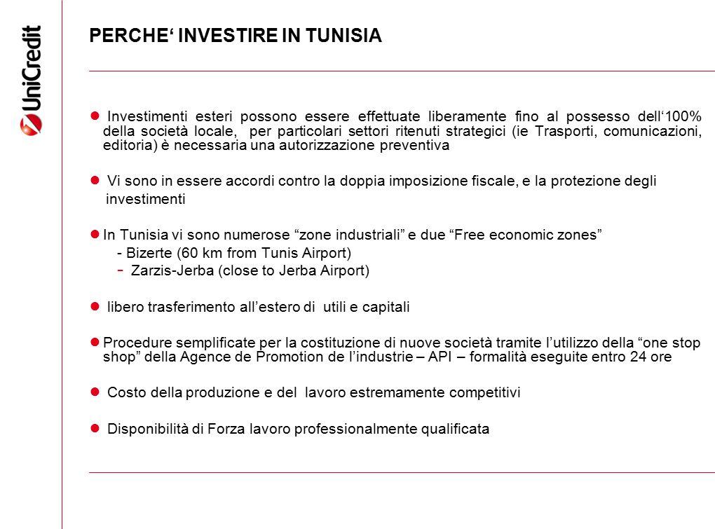 PERCHE' INVESTIRE IN TUNISIA ● Investimenti esteri possono essere effettuate liberamente fino al possesso dell'100% della società locale, per particol