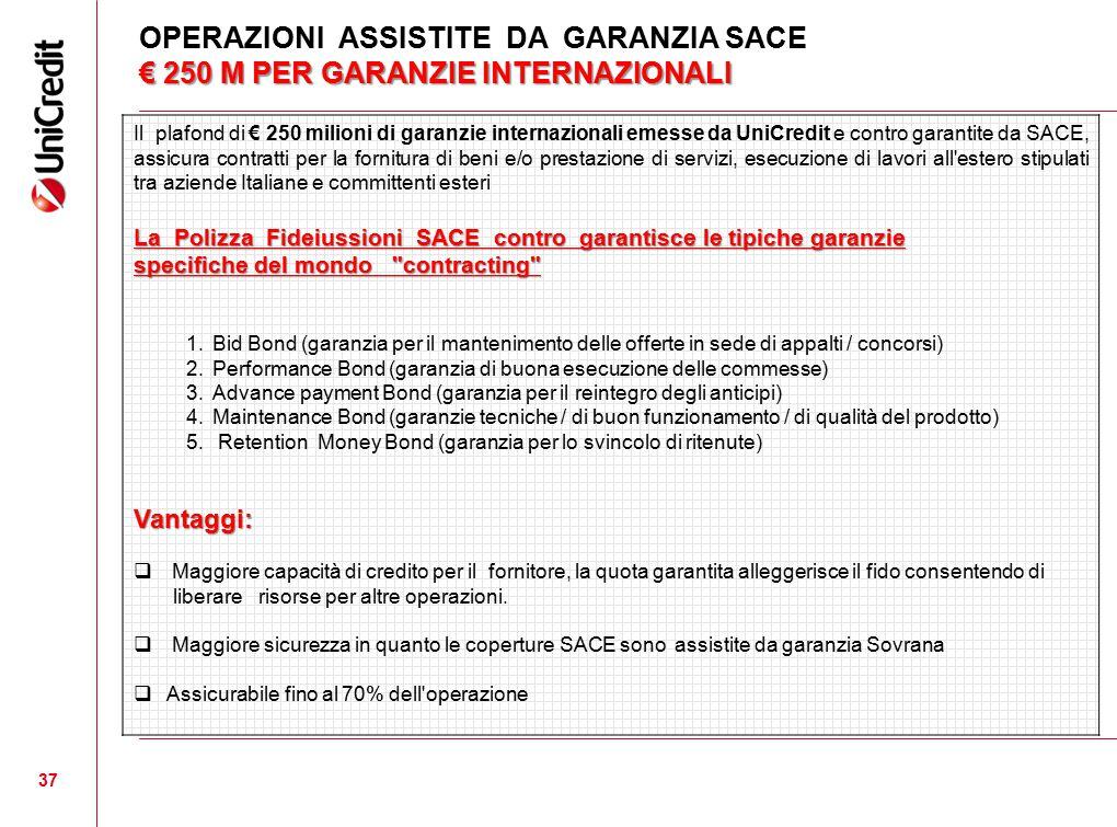 € 250 M PER GARANZIE INTERNAZIONALI OPERAZIONI ASSISTITE DA GARANZIA SACE € 250 M PER GARANZIE INTERNAZIONALI 37 Il plafond di € 250 milioni di garanz