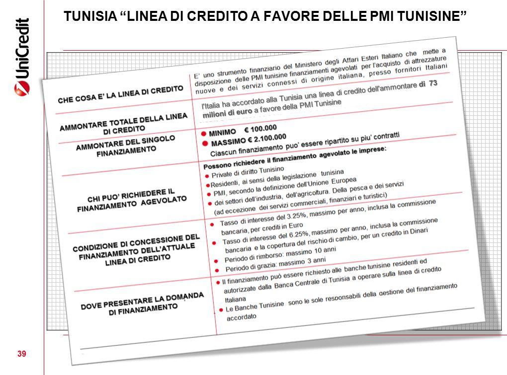 """TUNISIA """"LINEA DI CREDITO A FAVORE DELLE PMI TUNISINE"""" 39 l'Italia ha accordato alla Tunisia una linea di credito dell'ammontare di 73 milioni di euro"""
