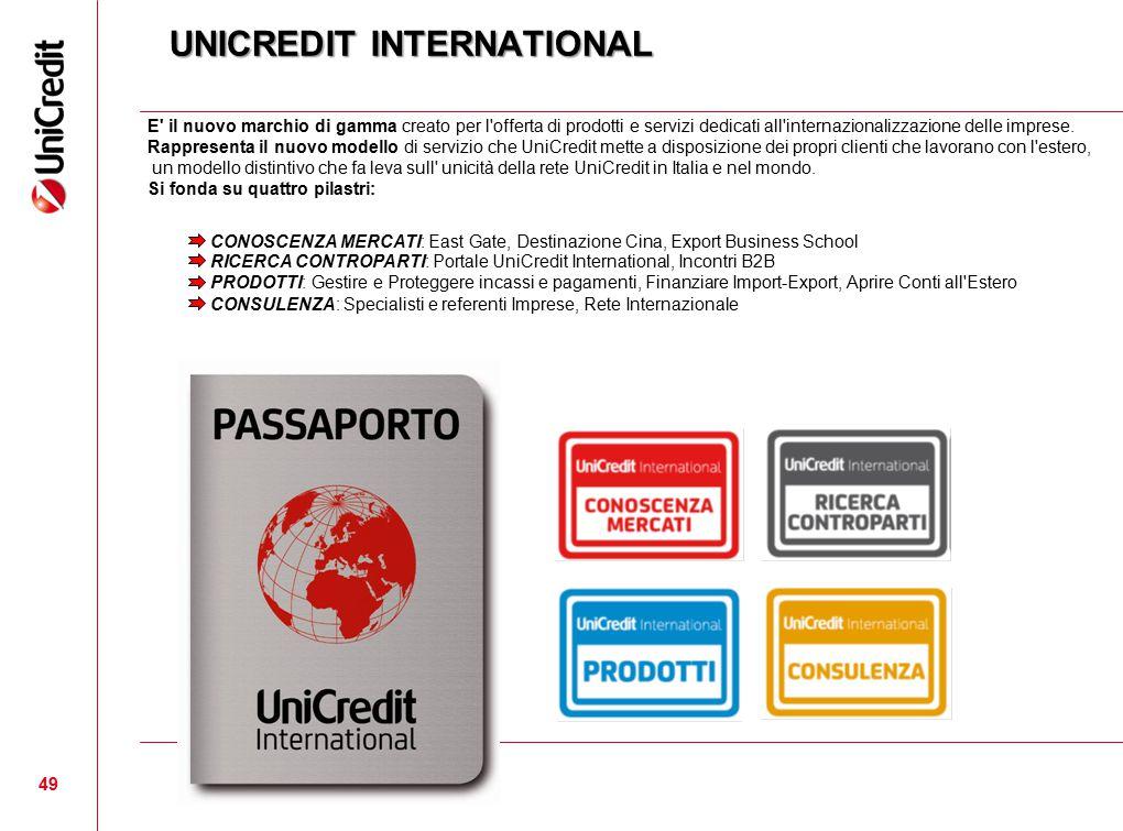 49 UNICREDIT INTERNATIONAL E' il nuovo marchio di gamma creato per l'offerta di prodotti e servizi dedicati all'internazionalizzazione delle imprese.