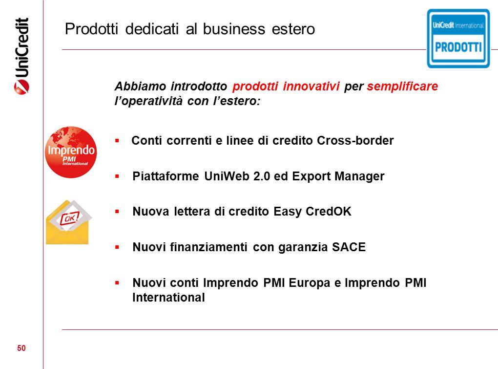 50 Prodotti dedicati al business estero Abbiamo introdotto prodotti innovativi per semplificare l'operatività con l'estero:  Conti correnti e linee d
