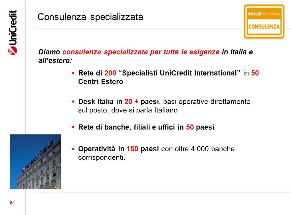 """51 Consulenza specializzata Diamo consulenza specializzata per tutte le esigenze in Italia e all'estero:  Rete di 200 """"Specialisti UniCredit Internat"""