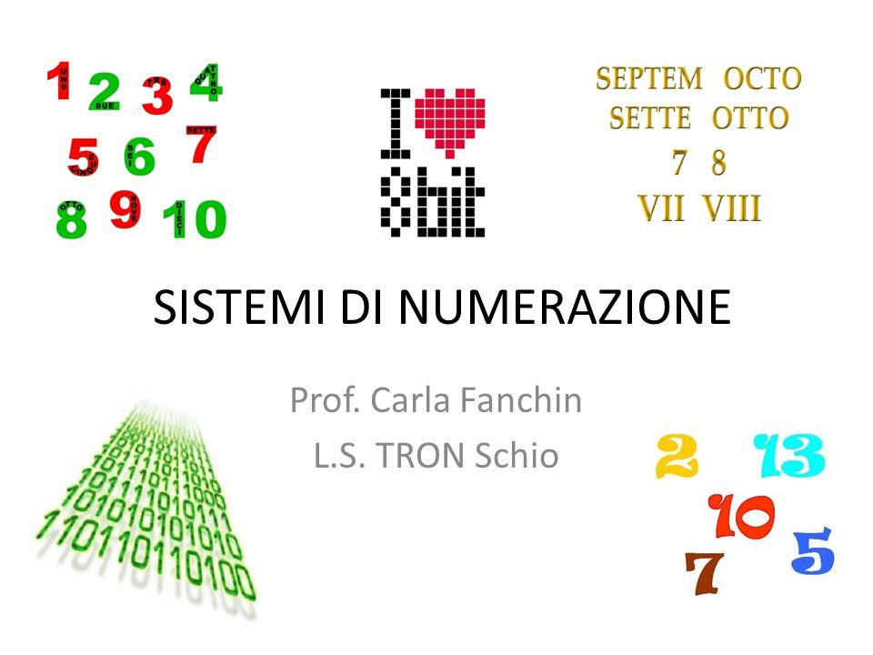 SISTEMI DI NUMERAZIONE Prof. Carla Fanchin L.S. TRON Schio