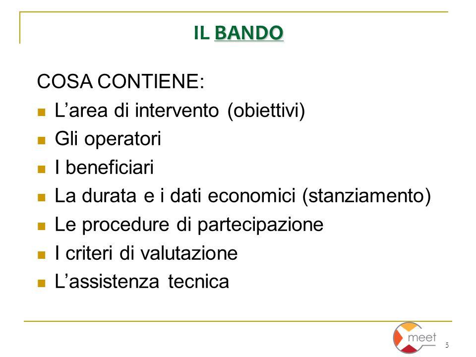 5 BANDO IL BANDO COSA CONTIENE: L'area di intervento (obiettivi) Gli operatori I beneficiari La durata e i dati economici (stanziamento) Le procedure di partecipazione I criteri di valutazione L'assistenza tecnica