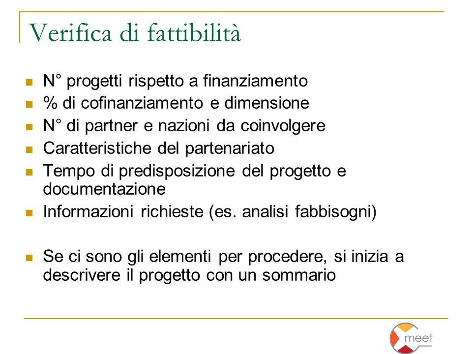 Verifica di fattibilità N° progetti rispetto a finanziamento % di cofinanziamento e dimensione N° di partner e nazioni da coinvolgere Caratteristiche del partenariato Tempo di predisposizione del progetto e documentazione Informazioni richieste (es.