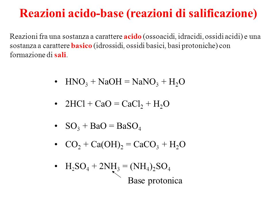 Reazioni acido-base (reazioni di salificazione) Reazioni fra una sostanza a carattere acido (ossoacidi, idracidi, ossidi acidi) e una sostanza a carattere basico (idrossidi, ossidi basici, basi protoniche) con formazione di sali.