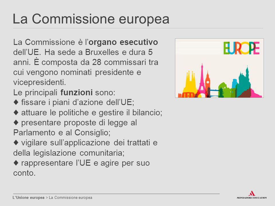 La Commissione europea L'Unione europea > La Commissione europea La Commissione è l'organo esecutivo dell'UE. Ha sede a Bruxelles e dura 5 anni. È com